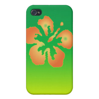 Abstract Hibiscus on Green and Yellow Cover For iPhone 4