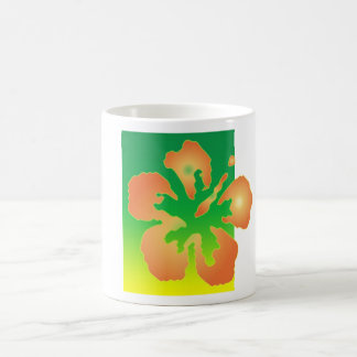 Abstract Hibiscus on Green and Yellow Mugs