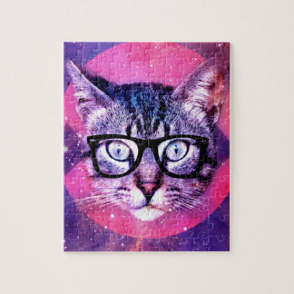 Abstract Hipster Cat Jigsaw Puzzles