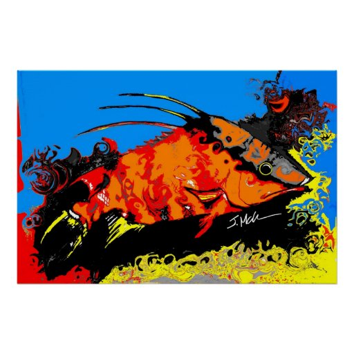 Abstract Hogfish Poster