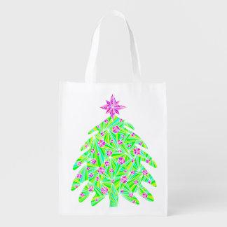 Abstract Holiday Christmas Tree Eco Friendly Bag Reusable Grocery Bags