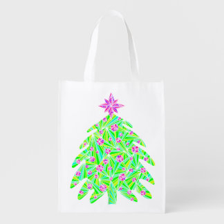 Abstract Holiday Christmas Tree Eco Friendly Bag Reusable Grocery Bag
