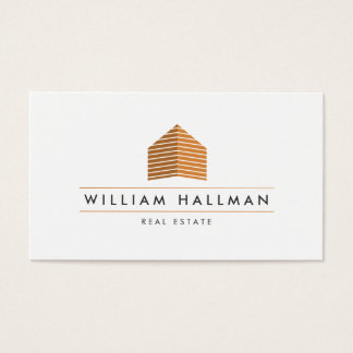 Abstract Home Logo Orange/White Business Card