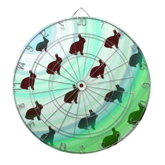 Abstract Hopping Bunnies Dartboard With Darts