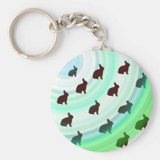 Abstract Hopping Bunnies Keychain