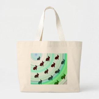 Abstract Hopping Bunnies Large Tote Bag