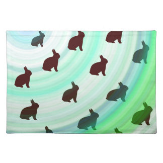 Abstract Hopping Bunnies Placemat