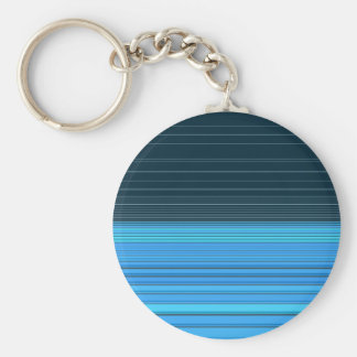 Abstract horizontal linework, deep and light blue basic round button keychain