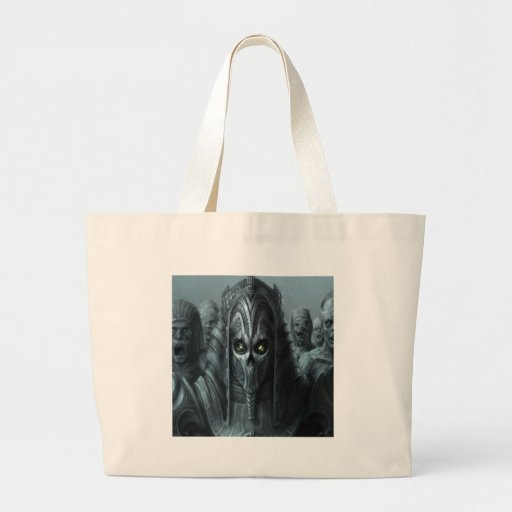 Abstract Horror Aztec Zombie Army Tote Bags