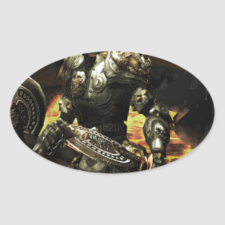 Abstract Horror Death Comes Armour Oval Sticker