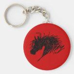 Abstract Horse Head art Basic Round Button Keychain
