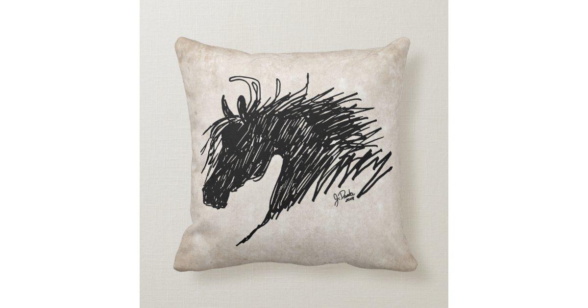 Abstract Horse Head Art Throw Pillow Zazzle
