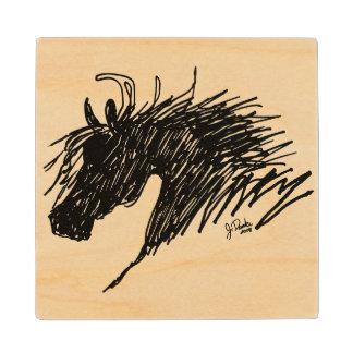 Abstract Horse Head art Wooden Coaster