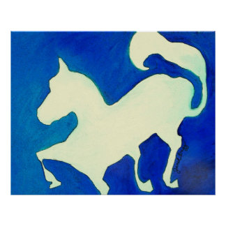 Abstract Horse in Blue and White Poster