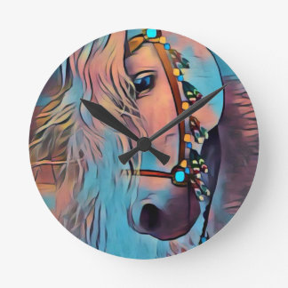 Abstract Horse Round Clock