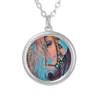 Abstract Horse Silver Plated Necklace