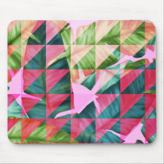 Abstract Hot Pink Banana Leaves Design Mouse Pad