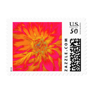 Abstract Hot Pink Orange Dahlia Flower Painting Postage
