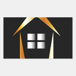 Abstract house rectangular sticker