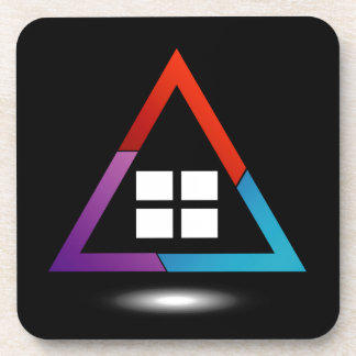 Abstract house with windows drink coaster