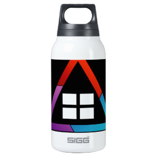 Abstract house with windows insulated water bottle