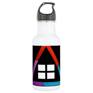 Abstract house with windows water bottle