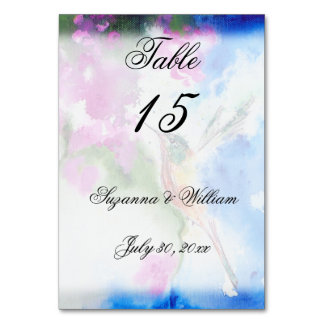 Abstract Hummingbird Wedding Table Number Cards