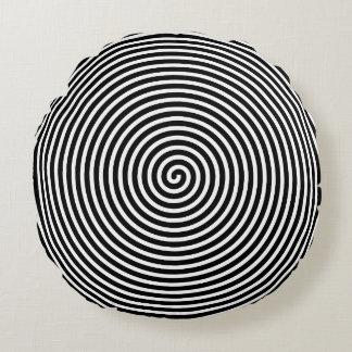 Abstract Hypnotized Black White Round Pillow