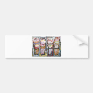 Abstract Ice Cream Sundaes (Food Expressionism) Bumper Stickers