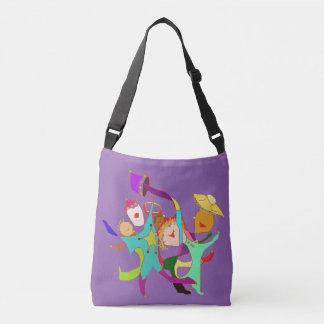 Abstract Ideas Happy Dancers in Purple Crossbody Bag