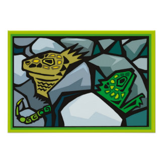 Abstract Iguana Posters