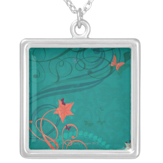 Abstract Illustration Silver Plated Necklace