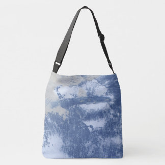 Abstract image blue white and taupe paint crossbody bag