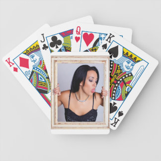 Abstract image of a beautiful woman. poker cards