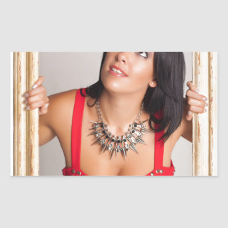 Abstract image of a beautiful woman. rectangular sticker