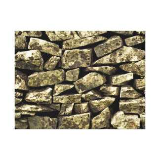 Abstract image of a dry stone wall stretched canvas print
