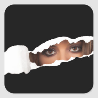 Abstract image of a woman's eyes. square sticker