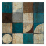 Abstract in Blue and Brown Poster