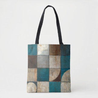 Abstract in Blue and Brown Tote Bag