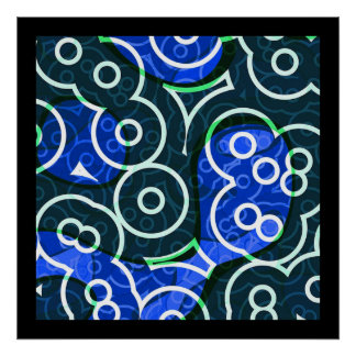 Abstract In Blue & Green Circles 24x24 Poster