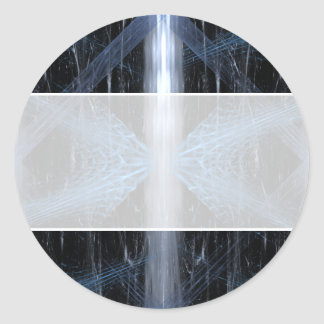 Abstract in Blue White and Black. Classic Round Sticker
