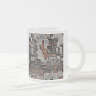 Abstract in Brown and Gray. Pattern. Frosted Glass Coffee Mug