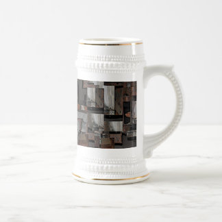 Abstract in Brown and Gray. Pattern. 18 Oz Beer Stein