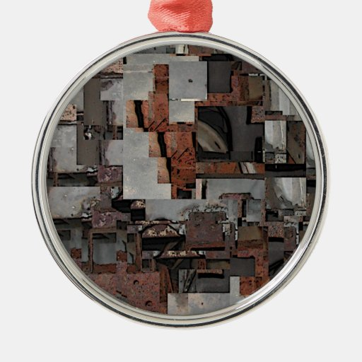 Abstract in Brown and Gray. Pattern. Round Metal Christmas Ornament