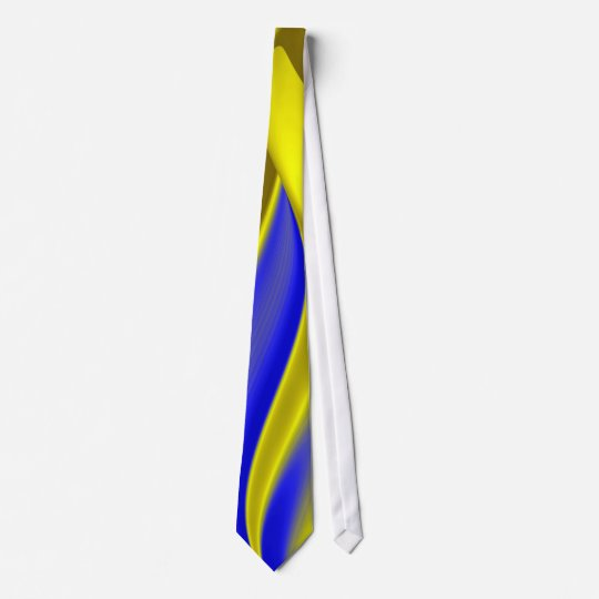 abstract in gold-yellow blue neck tie