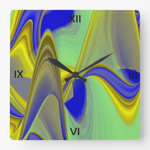 abstract in gold-yellow blue square wall clock
