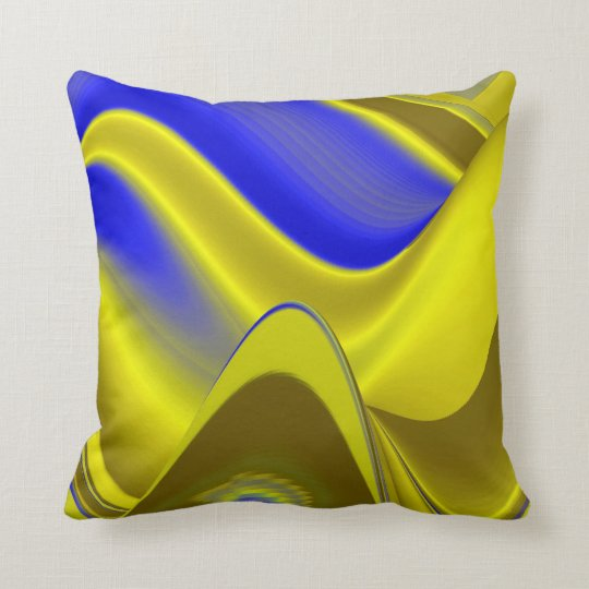 Abstract in gold-yellow blue throw pillow