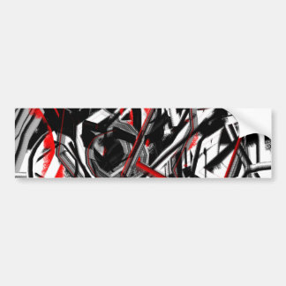 Abstract in Gray, Red, and Black Bumper Sticker