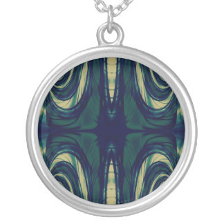 Abstract in Green, Blue, and Beige Silver Plated Necklace
