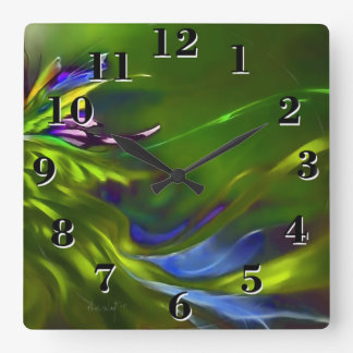 Abstract in Peridot & Emerald Square Wall Clock